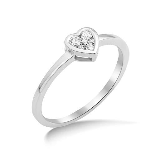 Miore Ring Damen Diamant Verlobungsring Herz Weißgold 18 Karat / 750 Gold Diamanten Brillanten 0.10 Ct, Schmuck