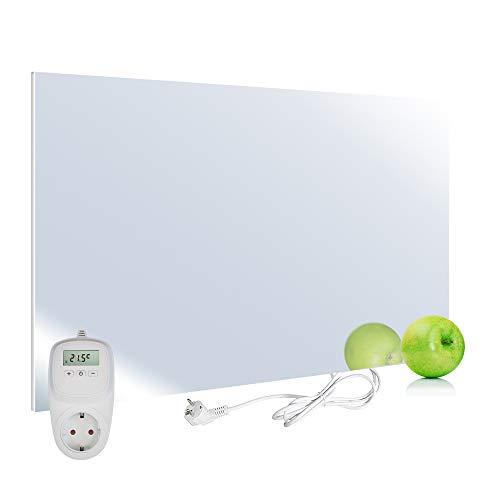 VIESTA H450-SP Calefacción por infrarrojos panel calefactor Carbon Crystal 450 Watt, ultraplano, espejo, Termostato TH10