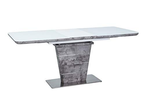 LUENRA Mesa de comedor rectangular extensible de madera y cristal templado 140 (180) x 80 x 76 cm, patas de acero cepillado y madera, lacado blanco / efecto hormigón