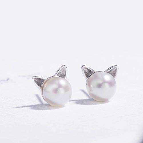 S.Leaf Cat Earrings Pearl Earrings Sterling Silver Studs Earrings for Women
