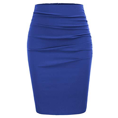 FDJIAJU Jupe pour Femme,Dames Tube Jupe Mode Sexy Genou Taille Haute Jupe Droite Vintage Solide Ruché Paquet Hanche Moulante Midi Crayon Robe Bureau De Fête De Travail, Bleu, L