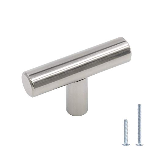 Chrome Cabinet Knobs for Dresser Drawers 2 in Length - LONTAN LH201CP Cabinet Hardware T Bar Contemporary Drawer Knobs for Kitchen Cabinets 5 Pack