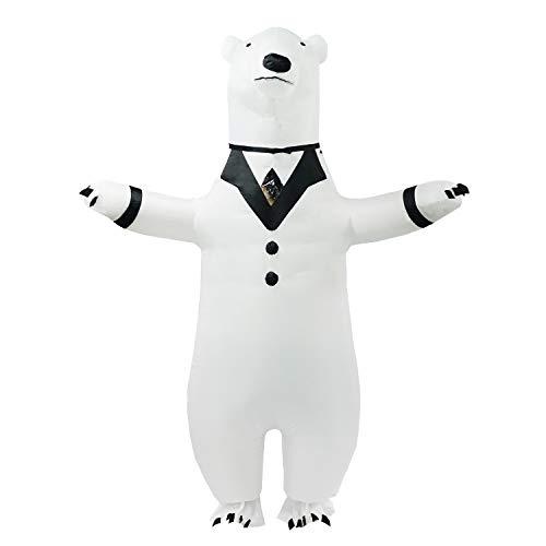 PARAYOYO Disfraz de Oso Polar Inflable Adulto Traje de Cuerpo Completo Vestido de Fiesta Elegante para Hombre Mujer Halloween Blanco
