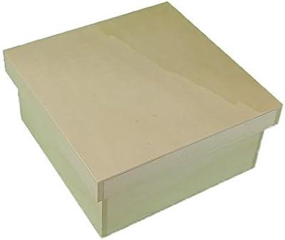 greca Caja de Madera Cuadrada con Tapa. En Crudo, para Decorar. Medidas (Ancho/Fondo/Alto): 21 * 21 * 11 cm. Disponible en 3 tamaños.: Amazon.es: Hogar