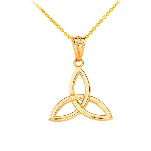 Certified 10k Gold Solitaire Diamond Celtic Trinity Knot Charm Pendant Necklace, 18'