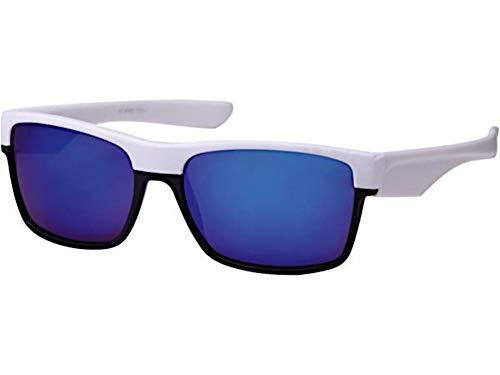 CHICNET Gafas de sol deportivas para hombre y mujer, acrílicas, cuadradas, color negro, parte superior multicolor con efecto espejo