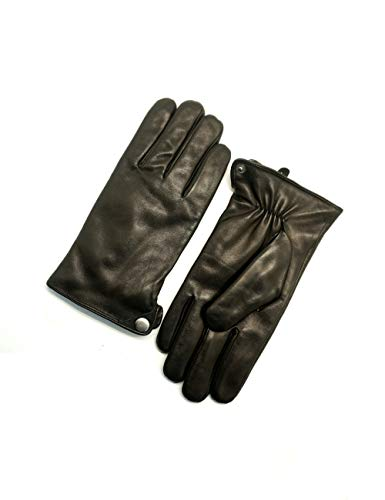 YISEVEN Winter Men's Warm Genuine Lambskin Leather Gloves Skin Tight with Button fur Lined Classical Urban Style Genuine Lambskin For Dress Driving Motorcycle Work Gifts,Black 9.5