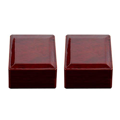 MagiDeal Joyero de Madera Rojo Vino de 2 Piezas 65x65x50mm para Exhibición de Vitrina de Soporte