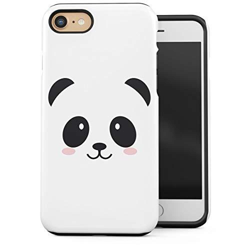 Cover Compatible With iPhone 7 / iPhone 8 2 Pezzi Doppio Strato PC + TPU Custodia Protettiva Robusta Case Cute Kawaii White Panda Face