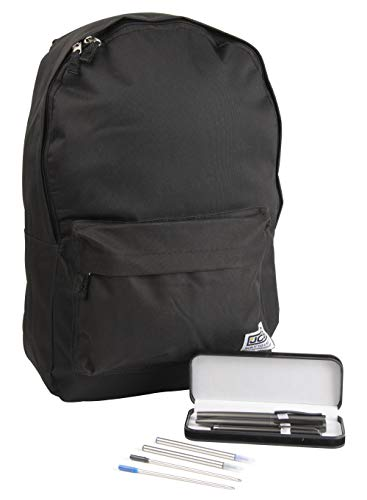 JCB Backpack Back to School Bundle with 7 Piece Aluminium Pen Set (Black)