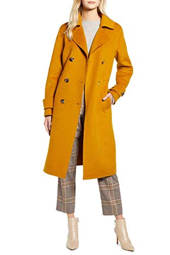 Kenneth Cole New York 17LMW446 Double Breasted Wool Blend Peacoat- Mustard - M