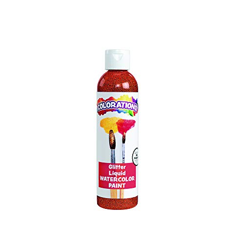 Colorations Liquid Glitter Watercolor Paint, 8 fluid ounces oz, Orange, Non-Toxic, Painting, Kids, Craft, Hobby, Fun, Water Color, Posters, Cool effects, Versatile, Gift (Item # GLWCOR)