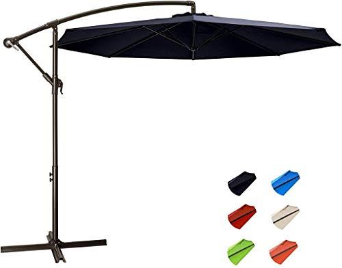 WYFDM 3M Cantilever Banana Overhanging Garten Sonnenschirm Außenmarkt Regenschirme mit Crank Lift & Querunter für Outdoor, Garten und Terrasse