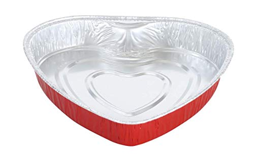Einweg-Kuchenform aus Aluminium, Herzform, 20,3 cm, mit Deckel, Rot, 25 Stück