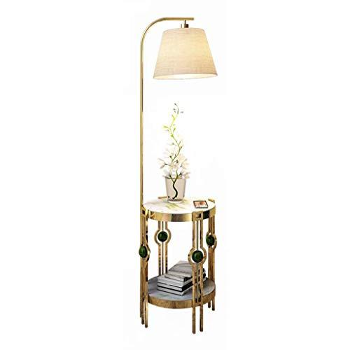 Slaapkamer Woonkamer LED Staande lamp met 360 ° regelbaar hangend lampenkap en bolle kant End Marble Table Tall Pole Uplight for Office studeerkamer
