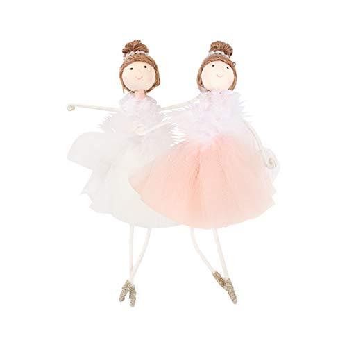 KESYOO 2 Piezas Bailarina Ballet Niña Adorno Navideño Navidad Árbol de Vacaciones Decoraciones Fiesta de Navidad Favores Regalos (Blanco Y Rosa)