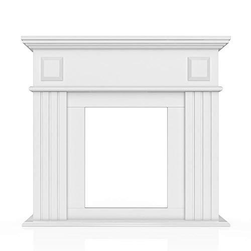 Kaminumrandung im Landhaus Stil 100 x 109 cm in Weiß - Umbau Sims Rahmen Konsole Kamin Elektrokamin Gelkamin