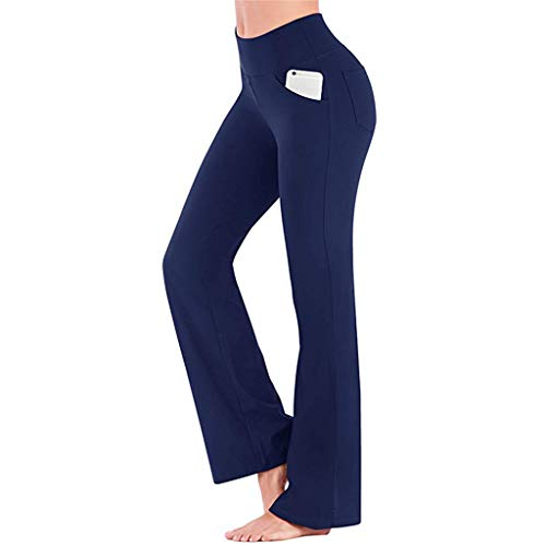 TOTOD Women Workout Out Pocket Leggings Casual Stretch Straight Leg High Waisted Long Work Pants with Belt Blue