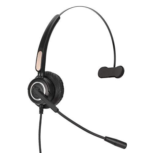 Auriculares telefónicos con micrófono, auriculares RJ45 con micrófono con cancelación de ruido Auriculares telefónicos, chat claro, súper livianos, ultra confort, cable en espiral, para centro de llam