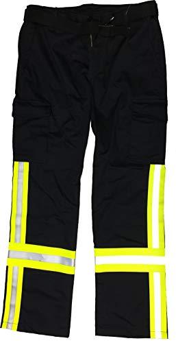 Feuer1 Pantalon de pompier ignifugé en coton avec bande HuPF4 Taille normale Bleu marine bleu marine 55
