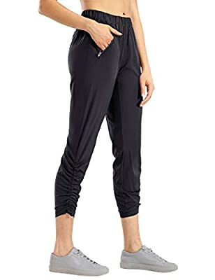 CRZ YOGA Women's Lightweight Joggers Athletic Hiking Pants with Zipper Pockets Lounge Track Pants Drawstring Ankle Black XS