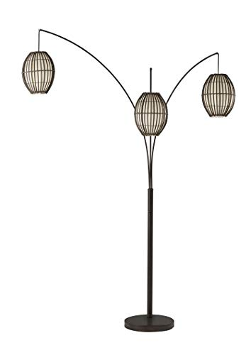 Adesso 4026-26 Maui Arc Lamp, 82 in, 3x60W Incandescent,13 CFL, Antique Bronze, 1 Floor Lamp