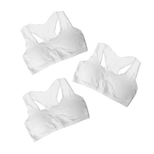 Hoxin - Reggiseno in cotone, per bambini, senza fili, per bambini, per allenamento, taglia piccola, pubertà bianco Taglia unica