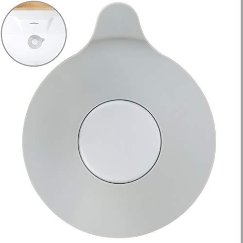 Universal Stöpsel in grau, mit 13 cm Durchmesser, für alle Abflüsse bis 90 mm, aus Silikon, Abflusstopfen für Badewanne, Dusche, Waschbecken und Spüle, schmutz-resistenter Abfluss-Stöpsel