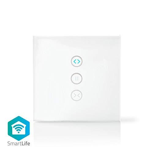 Nedis - Wi-Fi smart muurschakelaar - Bediening voor gordijn, rolluik of zonnescherm - Bediening via app - Stembediening - Eenvoudig te installeren - Ondersteunt tot 300 W - Wit
