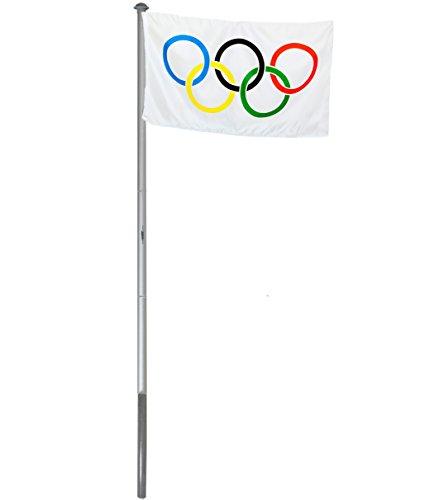 Brubaker Aluminium Fahnenmast Flaggenmast 6 m inklusive Deutschland Flagge + Olympia Flagge 150 x 90 cm und Bodenhülse