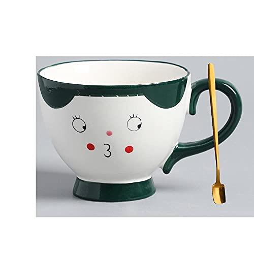 mglxzxxzc Taza De Expresión Creativa Pintada A Mano con Cuchara Taza Pequeña De Leche Fresca Taza De Café De Cerámica para El Hogar Taza De Desayuno De Corazón para Niña-Pouting_Expression_430Ml