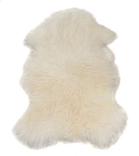 Aves-24 SCHAFFELL Lammfell Naturfell ökologisch ECHTES 100% Fell 110 bis 120 cm Länge Weiß Weich Teppich