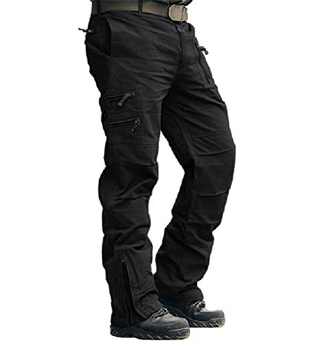 MAGCOMSEN Herren Hose Baumwolle Trainingshose Tactical Hose mit Tiefen Eingrifftaschen Multifunktionshose Slim Fit Arbeitshose für Wandern Urban Outdoor Hose Schwarz 32