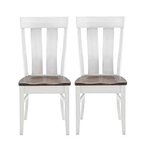 Set of 2 Brown and White Kitchen Chairs Featuring Arched Back and Distressing | Farmhouse Solid Maple Wood Dining Room Chairs | Amish Crafted Handmade in USA
