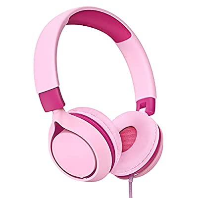 Kids Headphones, Wired Headphones for Kids Teens, Children Headphones with Volume Limit, Foldable Adjustable On-Ear Headphones for School,Travel, Compatible with Cellphones, Tablets, PC from Wronwimi