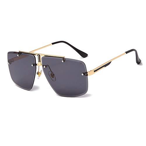 Hombres Retro Gafas De Sol Lente Púrpura Negra Golden Farme Gafas De Sol De Moda Gafas De Sol Cuadradas Sin Marco Gafas De Sol Vintage Diseño De Marca Hombres Gafas De Sol Gafas De Lujo Pa