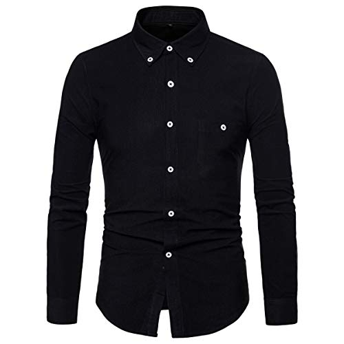 AOWOFS Herren Hemd Langarm Regular Fit Casual Cordhemd aus Baumwolle Basic