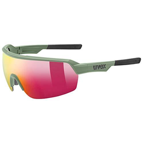 uvex Unisex– Erwachsene, sportstyle 227 Sportbrille, olive mat/mirror red, one size