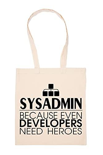 Even Developers Need Heroes Sysadmin Beige Einkaufstasche Wiederverwendbar Langlebig Umweltfreundlich Reusable Shopping Bag