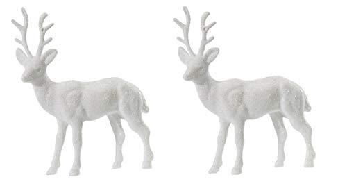 Hirsch Figur 14cm mit Glitzer 2 Stück Weiß