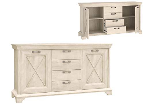 Furniture24 Kommode Kashmir KSMK26, Wohnzimmerschrank, Sideboard mit 4 Schubkasten und 2 Türen (Pinie Weiß)