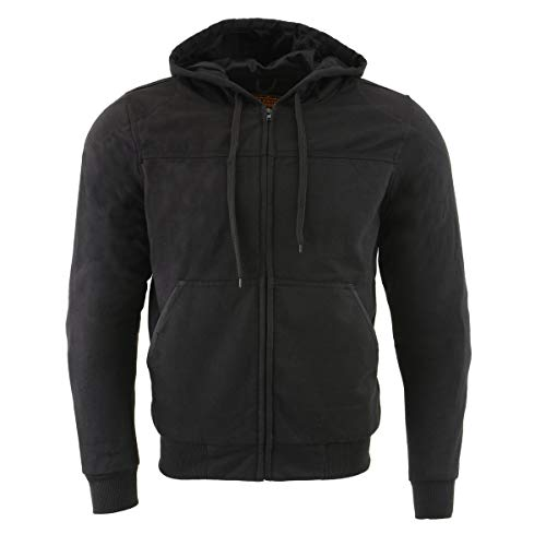 Milwaukee Performance MPM1788 Men's Black CE Approved Removable Armored Hoodie with Aramid By Dupont - X-Large
