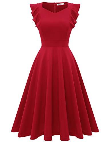 Bbonlinedress V-Ausschnitt Kurzarm Blumen Bestickt knielangen Schwarz Cocktailkleid Abendkleider Damen Vintage Red XL