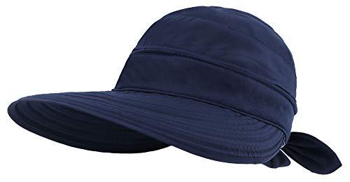 Simplicity UV Protection Sun Hats Packable Summer Hat Women w/Ponytail Dark Blue