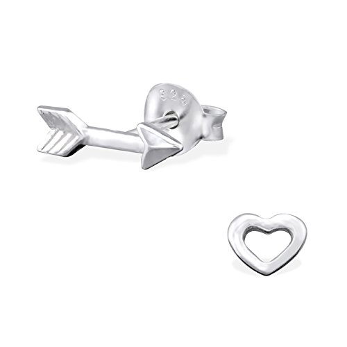 The Rose & Silver Company Women 925 Sterling Silver Heart and Arrow Stud Earrings