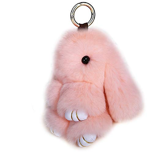 LvBo Bunny Fur Rex Rabbit Pompom Ball Doll Pendant Keychain Car Handbag Keyring (Skin powder)