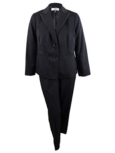 Le Suit Women's Petite 2 Button Peak Lapel Pinstripe Pant Suit, Black/Night, 10P