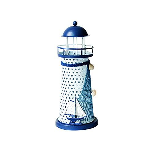Leuchtturm Kerzenhalter Teelichthalter Deko Mittelmeer Style Leuchtturm Eisen Kerze Haus Dekoration, Windlichthalter Vintage Eisen Leuchtturm Form mit Vogel, Maritime Deko (B)