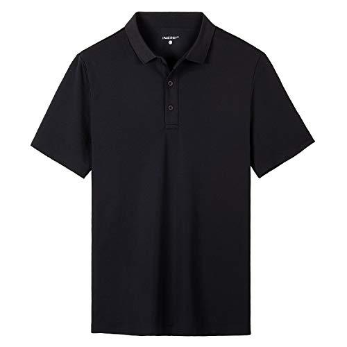 INNERSY Polohemd Herren Schwarz Knopfleiste Hemdkragen Bequem Outdoor Polo-Shirt (L, Schwarz)