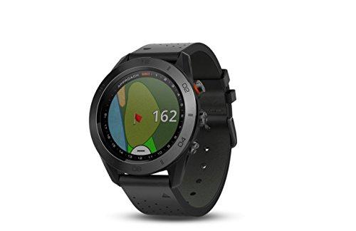 Garmin S60 GPS-Golf-Uhr mit schwarzem Lederband, 3 cm